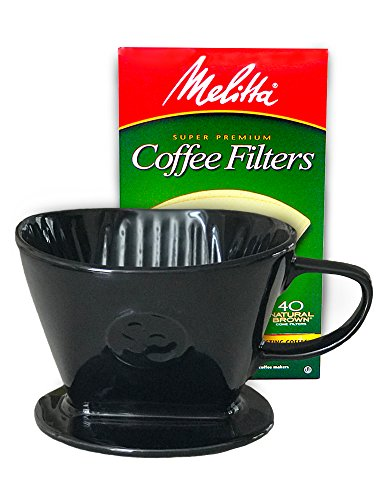 Coffee Pour Over Single Cup Ceramic Brewer Coffee Maker by Simply Charmed (Black)