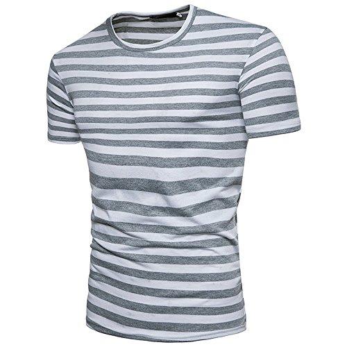 OrchidAmor Running Shirts Men, 2019 Men's Summer Casual Stripe Round Neck Pullover T-Shirt Top Blouse Gray
