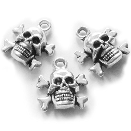 Heather's cf 50 Pieces Silver Tone Skull Beads DIY Charms Pendants 15X13mm