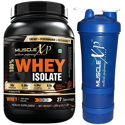 MuscleXP 100% Whey Isolate – 1Kg (2.2 lbs), Double Rich Chocolate with Shaker – Design 14