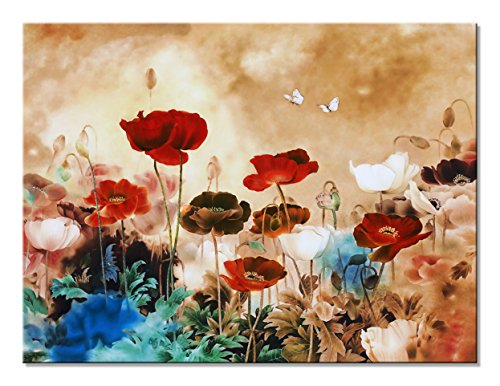 Wieco Art Blooming Poppies Extra Large Contemporary Colorful Flowers Pictures Paintings on Canvas Wall Art Modern Gallery Wrapped Floral Giclee Canvas Prints for Living Room Home Decorations XL