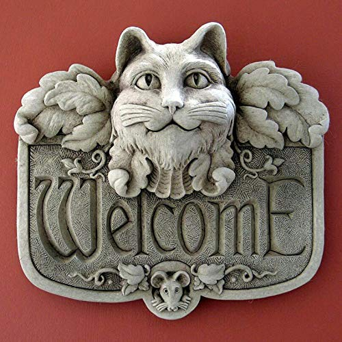 KensingtonRow Home Collection Wall Sculptures - Angel Cat Stone Welcome Plaque - Aged Stone Finish - Garden -