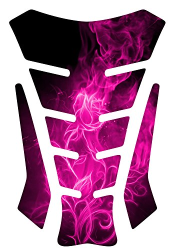 (Size is 9 in tall x 5.8 in wide Flaming Rose Pink Sq 3d Gel Motorcycle Gas Tankpad Motorcycle TanK pad Decal Sticker)