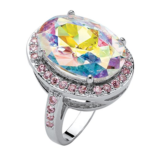 Oval-Cut Aurora Borealis and Pink Cubic Zirconia Silvertone Halo Cocktail Ring Size 6