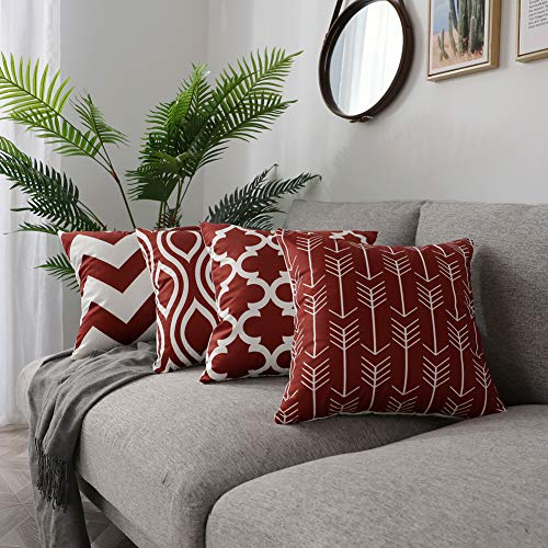 "FanHomcy Set of 4 Geometric Throw Pillow Covers for Couch,Soft Solid Square Decorative Pillow Set Cushion Cases for Sofa Bed Room Car, 18"" x 18"", Red Quatrefoil Arrow Ogee Chevron Patterns"