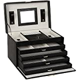 Large Lovely Jewellery Box Beautify Cosmetics Case Roomy Elegant Armoire 4 Drawers (Black) by BELLAMORE GIFT