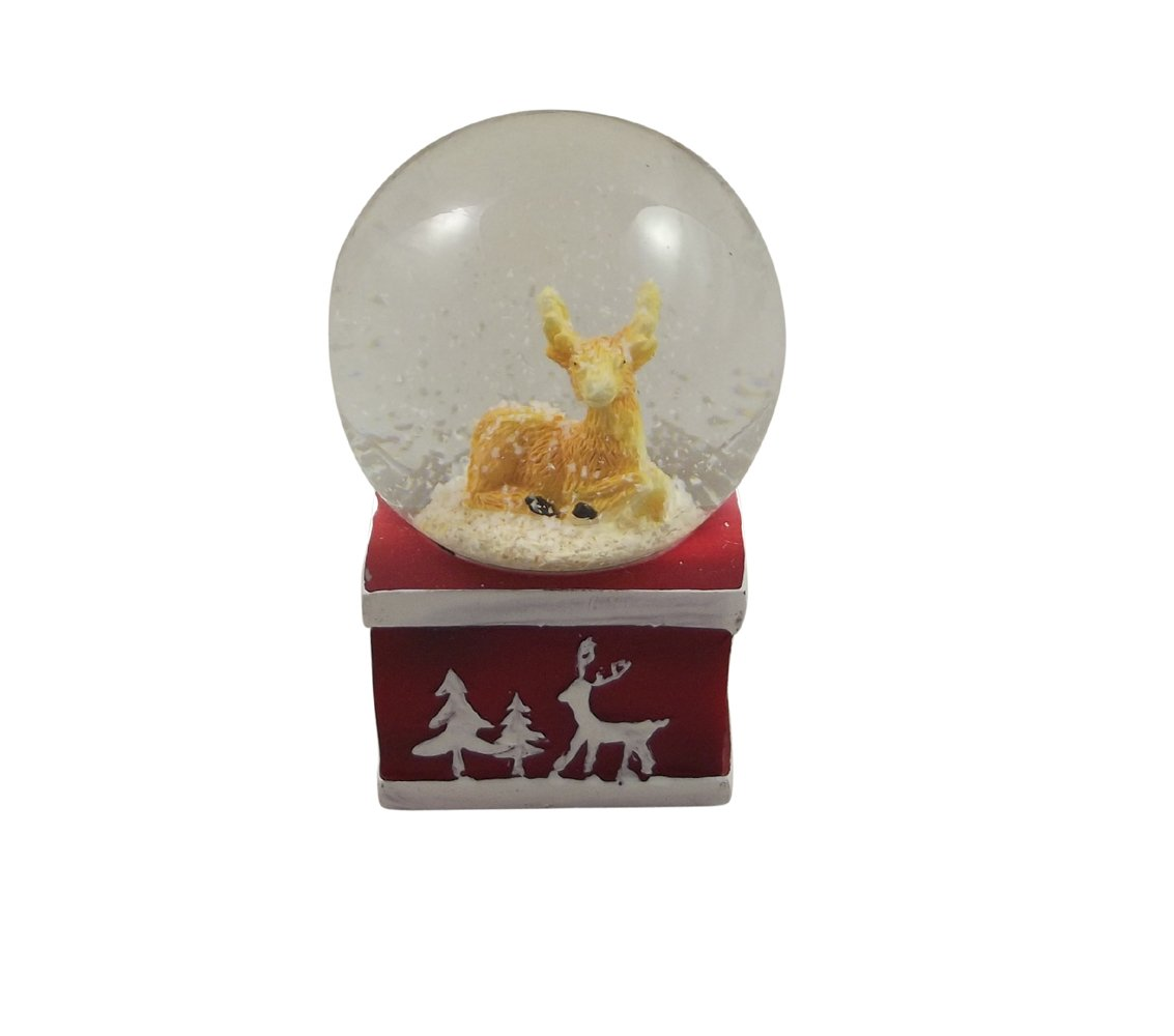 Gisela Graham Christmas Decoration - New England Reindeer Mini Snowglobe