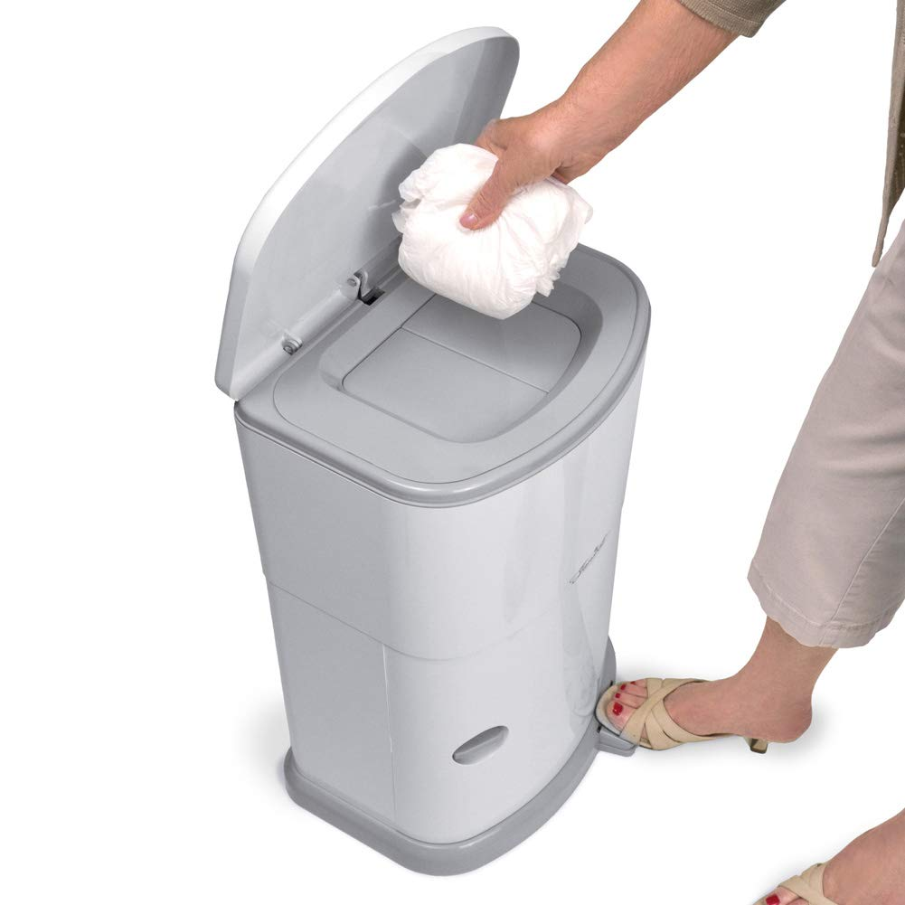 Akord Slim Incontinence Disposal System with Odor Lock, Discrete Style, White, 20'' H X 11'' W X 9.5'' D