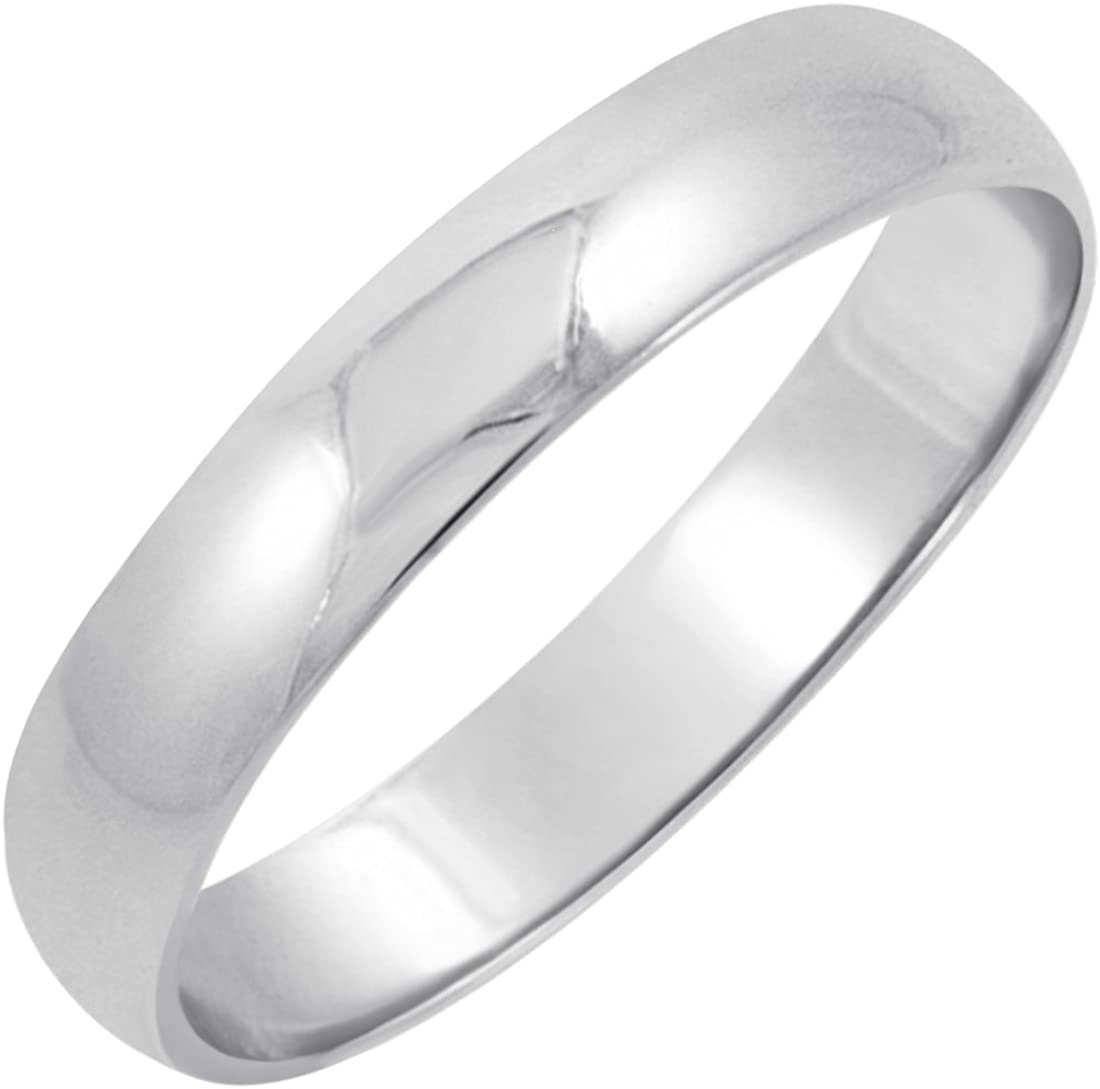 Men's 14K Yellow or White Gold 4mm Traditional Fit Plain Wedding Band (Available Ring Sizes 8-12 1/2)