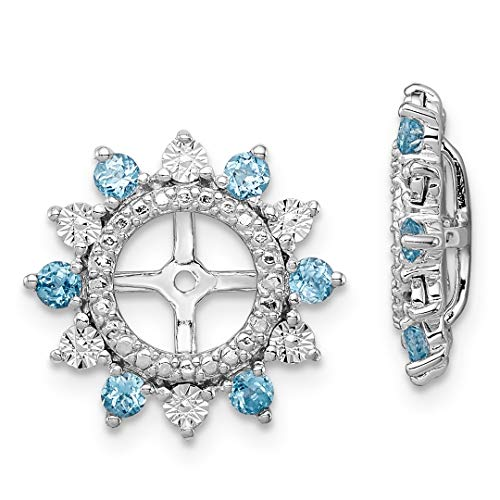 ICE CARATS 925 Sterling Silver Swiss Blue Topaz Earrings Jacket Birthstone December Fine Jewelry Ideal Gifts For Women Gift Set From Heart by ICE CARATS (Image #1)