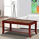 PrimaSleep Natural Marble Top Wood Coffee Table, Light Brown