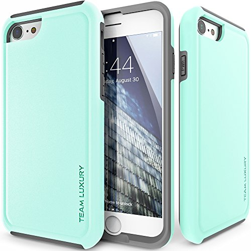 iPhone 8 Case/iPhone 7 Case, TEAM LUXURY Ultra Defender TPU + PC [Shock Absorbent] Premium Protective Case - for Apple iPhone 7 & 8 (Soft Mint/Gray)