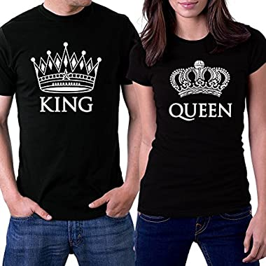 PicOnTshirt King and Queen Couple T-shirts Men XL / Women M Black Crowns