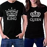 PicOnTshirt King and Queen Couple T-shirts Men L / Women L Black Crowns