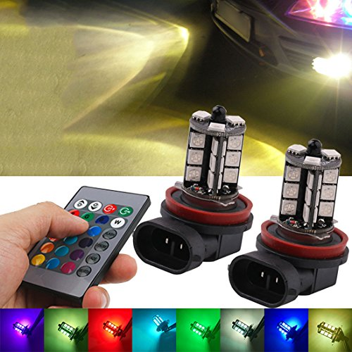 Fog Light, JAYEJA Remote Control Lights H11 H8 5050 27SMD LED Bright Fog Bulbs Lights Lamp Replacement High Power Daytime Running Light Lamps 7 Colors 4 Mode Alternately Switch - Pack of 2 (H11 / H8)