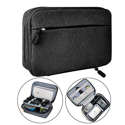 Electronic Organizer Travel Packing Bag - Luxsure Double Layer Travel Gadget Carry Bag for Accessories,Ipad/Ipad Pro/Mini, USB Cables, Plugs, Earphone, Power Bank, Flash Hard Drive (Medium 8.2'') by LUXSURE