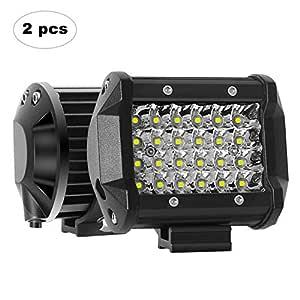 AAIWA Focos de Coche, LED Luz de Trabajo Bar Focos Led para 2 Piezas 24 LED 4