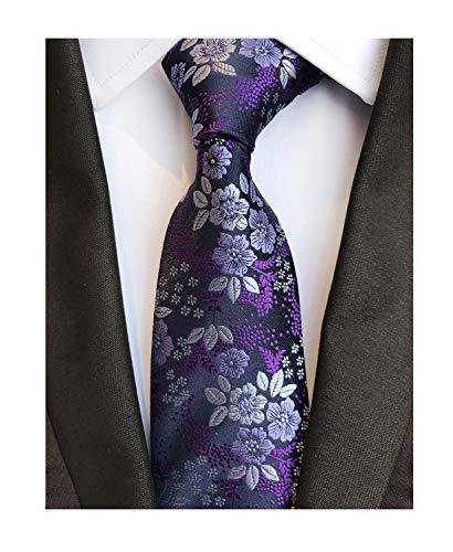 (Men's Classic Violet Dark Purple Silk Ties Jacquard Woven Dress Business)