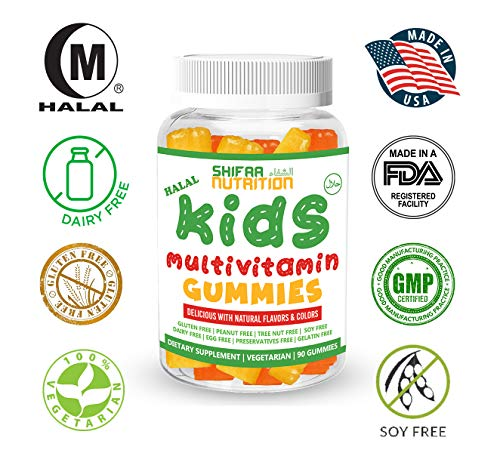 SHIFAA NUTRITION Halal, Vegan & Vegetarian Gummy Vitamins for Kids | with Vitamin D, A, C, E, B6, B12, Biotin, Zinc & More | Non-GMO & Free of Preservatives, Gluten, Nuts, Dairy & Soy - 90 Gummies