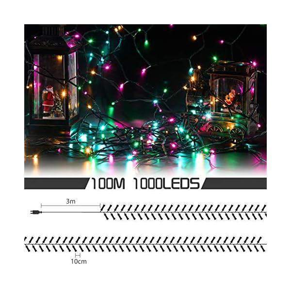 Avoalre Catena Luminosa 1000 LEDs 100M Luci Natale 8 Modalità 4 Colori Stringa Luci Interno/Esterno Impermeabile Luci Decorative per Atmosfera Romantica Festa Nozze Compleanno, Rosa/Giallo/Blu/Verde 4 spesavip