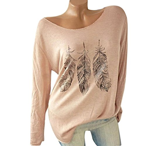 Yoyorule Women Long Sleeve Strapless Feather Print Floral Blouse Off Shoulder Tops Basic T-Shirt (S, (Strapless Feather)