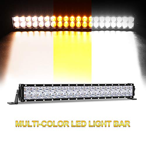 20 inch LED Light Bar, Three Color Modes 100W Spot and Flood Beam Combo Lights Dual Row Off Road Fog & Driving Light Bars for Jeep Ford Trucks Boat (Warm White/Amber/White)