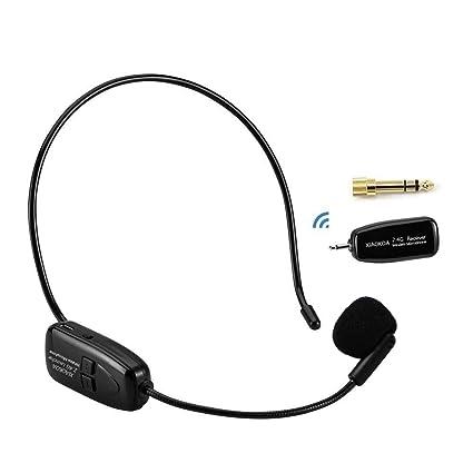 XIAOKOA 2.4G micrófono inalámbrico, la transmisión inalámbrica estable 40m, auriculares y de mano