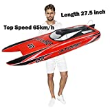 27.6-Inches Remote Control Boat High Speed Racing S011 Electric RC Boat Top Speed 65KM/H Brushless Motor Excellent Functions for Hobbies Player Adult Boys Age 14+ Red / Yellow Randomly