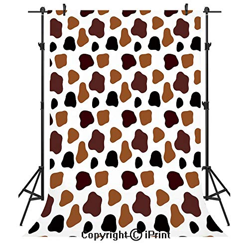 Cow Print Photography Backdrops,Cow Skin Animal Abstract Spots Milk Dalmatian Barnyard Camouflage Dots,Birthday Party Seamless Photo Studio Booth Background Banner 3x5ft,White Brown Black