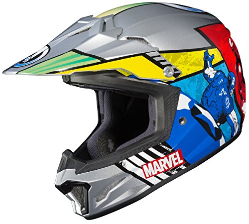 HJC Helmets Marvel Unisex-Child Off-Road Helmet (Multi-Color, Small) (CL-XY II Youth Avengers MC-21)