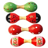 Goodplay 2 PCS Classic Wooden Maracas Double Head Sand Rattle Shakers Egg Handbell Hammer Percussion Musical Instruments kids Educational, Party Favor Kid Baby Toys (Random Color Pattern) (Small)