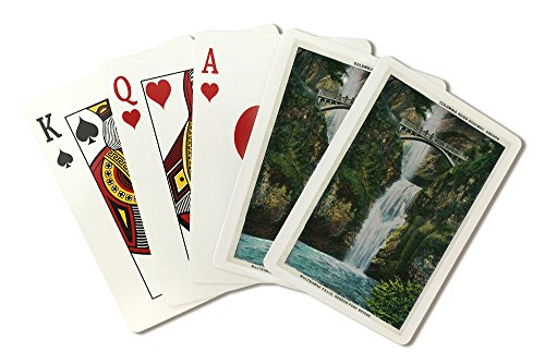 Multnomah Falls on Columbia River (Playing Card Deck - 52 Card Poker Size with Jokers) (Columbia Falls Multnomah River)