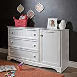 3-Drawer Dresser with Door, 2 Closed Storage Spaces, Bedroom Furniture, Metal Drawer Slides, White, Adjustable Shelf, Laminated Particle Board, Bundle with Expert Guide for Better Life