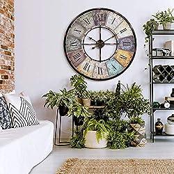 Industrial XXL Vintage Metal Huge Wall Clock Modern Antique Retro Designer Wall Art Industrial XXL Vintage Metal Huge Wall Clock Modern Antique Retro Designer Wall Art (Black, Ø 32 inch)