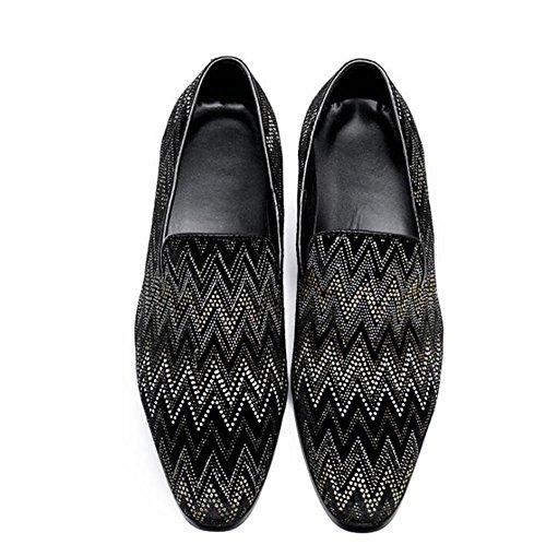 Noir Formelle Cuir En Motif Chaussures 45 à Affaires Mocassins Mode Hommes Taille Black 38 Club Vague Party xnP4HWfwT