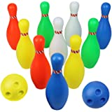 Big Bowling Pins Outdoor Indoor Toys Fun Plastic Bowling Set with 10 Pins and 2 Bowling Balls Gift for Ages 2 3 4 5 6 Years Old Toddler Kids Boys Girls Yard Games Educational Toys Sport Family Games