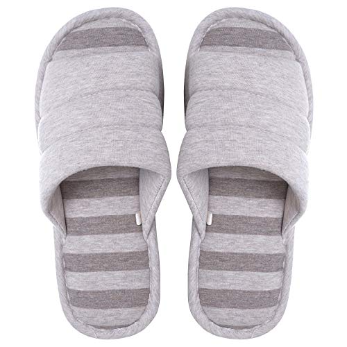 Memorygou Cozy Mens Home Slippers, Memory Foam Casual Indoor Outdoor House Shoes with Open-Toe, Coffee 9-10