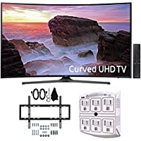 Samsung UN65MU6500 Curved 65' 4K Ultra HD Smart LED TV (2017 Model) w/ Wall Mount Bundle Includes, Slim Flat Wall Mount Ultimate Bundle Kit & SurgePro 6-Outlet Surge Adapter with Night Light