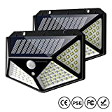 Solar Motion Sensor Lights Outdoor, IC ICLOVER New Upgraded 100 LED Waterproof Security Wall Night Light with 270° Wide Angle, 3 Optional Modes for Garden,Patio Yard,Fence,Deck Garage,Porch -2 Pack