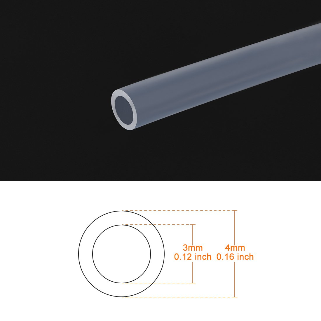 uxcell PTFE Tube Tubing 5 Meter 16.4ft Lengh for 3.0 Filament Pipe 2mm ID 4mm OD for 3D Printer RepRap a18042500ux0163