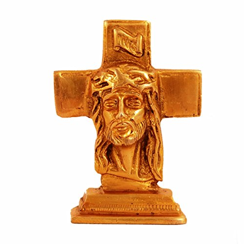 Purpledip Brass Statue Jesus Christ On Cross: Small Idol For Car Dashboard, Table, Shop Counter; Christian gifts (11153) (Statue Of Jesus Christ On The Cross)