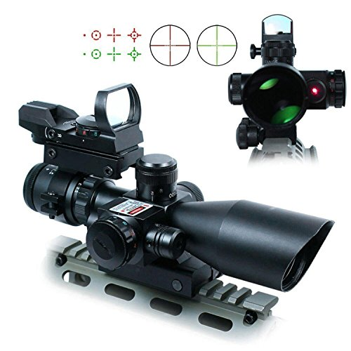 Freehawk® 2.5-10x40 Tactical Rifle Scope/Gun Scope Dual illuminated Mil-dot with Red Laser Rail Mount, Open Reflex Sight with Weaver-Picatinny Rail Mount for 11 mm Rails (Millet Tactical Rings)