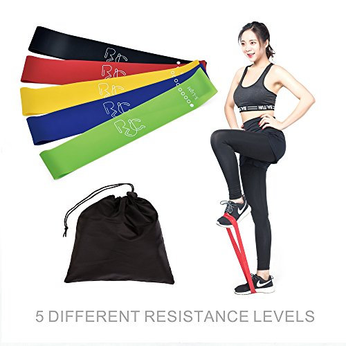 Exercise Resistance Loop Bands, RJQ (24 x 2-Inch) Set of 5 Fitness Exercise Bands with 100% Natural Latexl best for Yoga, Stretching, Outdoor Exercise.