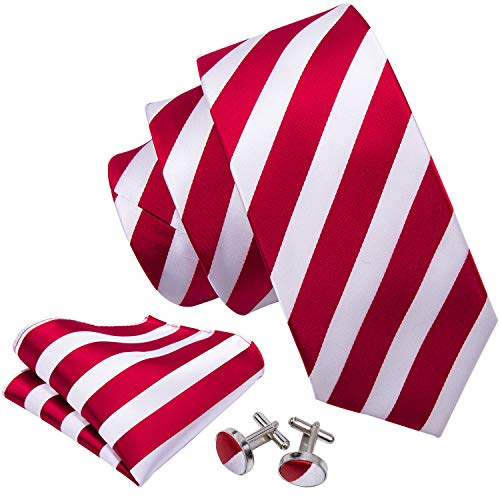 (Barry.Wang Red and White Ties Striped Tie Set Wedding Neckties)