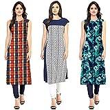 Pramukh Fashion Women's Crepe Kurti (Multicolour, Free Size) - Pack of 3 Combo