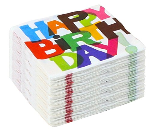 Beverage Birthday Napkins Balloons Party - Hallmark Party 100 Beverage Napkins - Happy Birthday