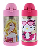 hello kitty vacuum cleaner - Thermos FUNtainer Vacuum Insulated Stainless Steel Kids Drinkware Bottle with Straw, 10 Ounce - Tasteless and Odorless, BPA Free, Great for Children – Disney Princess and Hello Kitty Cupcake (2 Pack)