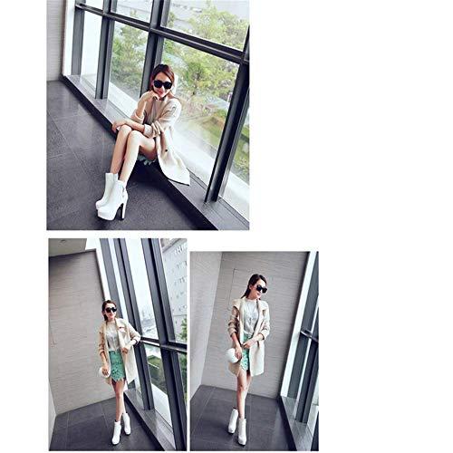 con con con Bianco a Alto con Strass Strass Strass Strass Donna Ol Stivali Tondo Stivali Tacco Strass Bianca Woman Super Stivali Forma Glamour Tacco con con di Temperament Shirloy wB7pvq