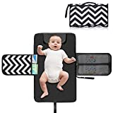Portable Diaper Changing Pad - Baby Changing Station Mat - Waterproof & Foldable Lightweight Travel Diaper Kit with Head Cushion Perfect for Toddlers, Infants or Newborns