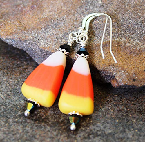 (Candy Corn Halloween Earrings Sterling)
